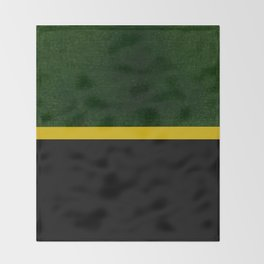 Green, Gold And Black Color Block Throw Blanket