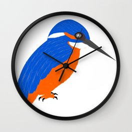 Blue And Orange Kingfisher Wall Clock