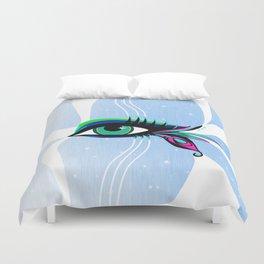 Rainbow Peacock Feather Eyelashes Eye Duvet Cover