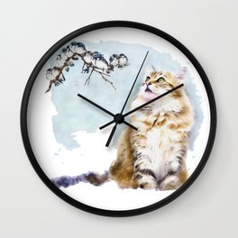 Cute Cat on the Lurk Watercolor Painting Wall Clock