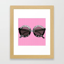 Circle Sunglasses cross my heart Framed Art Print