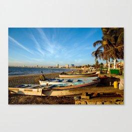 Mazatlan Beach & Boats Canvas Print