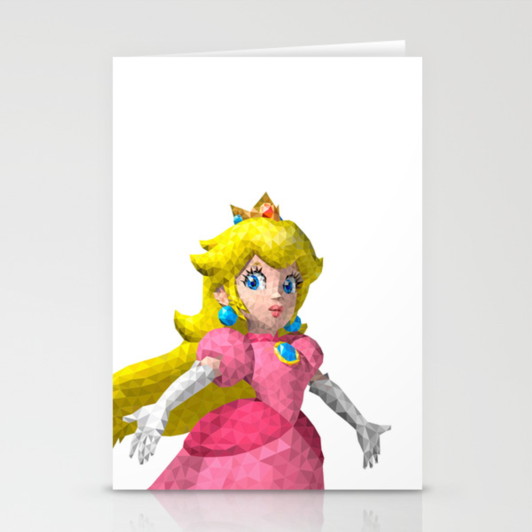 Princess Peach Super Mario Nintendo Illustration Pixel Art Stationery Cards By Eightandabit