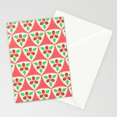 Raspberries and Polka Dots Pattern Stationery Cards