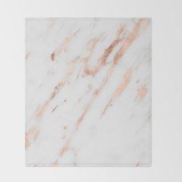 Pink Quartz Marble Rose Gold White Throw Blanket