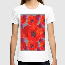 SUCCULENT PURPLE RASPBERRIES & ORANGE POPPIES ABSTRACT T-shirt
