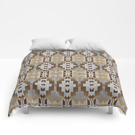 Brown Taupe Tan Gray Native American Indian Mosaic Pattern Comforters