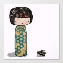Bee Kokeshi Canvas Print
