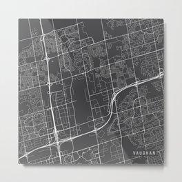 Vaughan Map, Canada - Gray  Metal Print