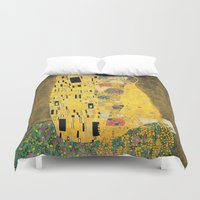 gustav klimt Duvet Covers featuring The Kiss - Gustav Klimt by BravuraMedia