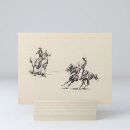 Edward Borein (1872 - 1945) Untitled  Roping Sketches Mini Art Print