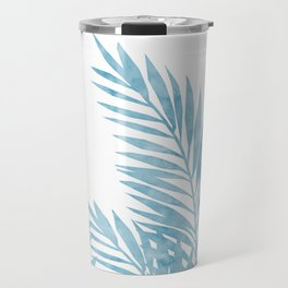Palm Leaves Light Blue Travel Mug