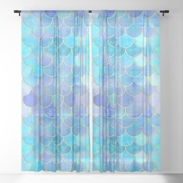 Aqua Pearlescent & Gold Mermaid Scale Pattern Sheer Curtain