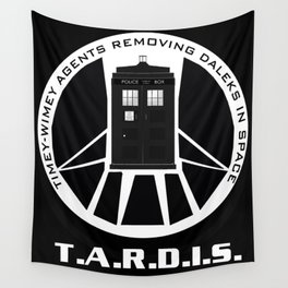 Agents of TARDIS black and white Agents of Shield, Doctor Who mash up Wall Tapestry