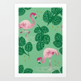 Flamingo Friends Art Print