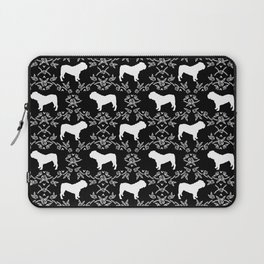 English Bulldog silhouette florals black and white minimal dog breed pattern print gifts bulldogs Laptop Sleeve