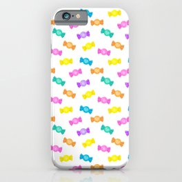 Cute Rainbow Candy Shop Pattern – Pastel Colors iPhone Case