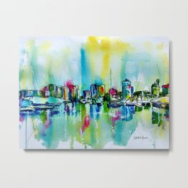 Abstract View of Downtown Long Beach Coastline Metal Print