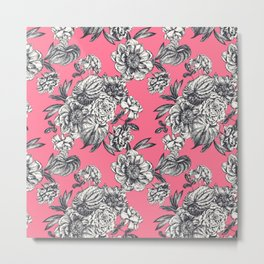 Peonies and anthurium on coral background. Metal Print