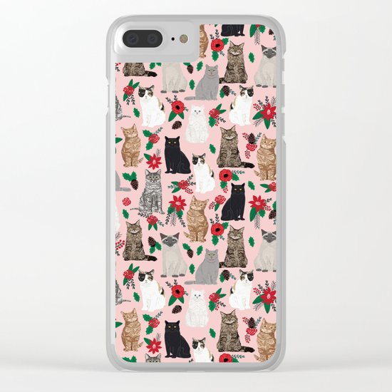Catsmas christmas poinsettias florals cat breeds pet friendly festive holiday gifts Clear iPhone Case