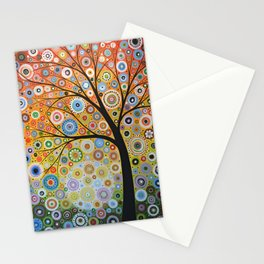 Abstract Art Original Landscape Painting ... Rays of Hope Stationery Cards
