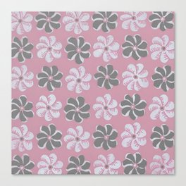 Floral design pink, Black & blue Gray  Flowers Allover Print Canvas Print