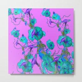 Modern Art Purple & Turquoise Morning Glories Pattern Fantasy Metal Print