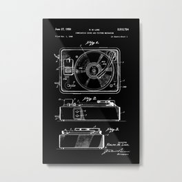 Turntable Patent - White on Black Metal Print