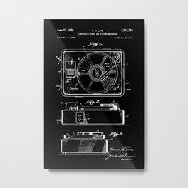Turntable Patent - White on Black Metal Print