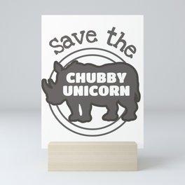 Save The Chubby Unicorn Gift Rhino Lover Gift Mini Art Print