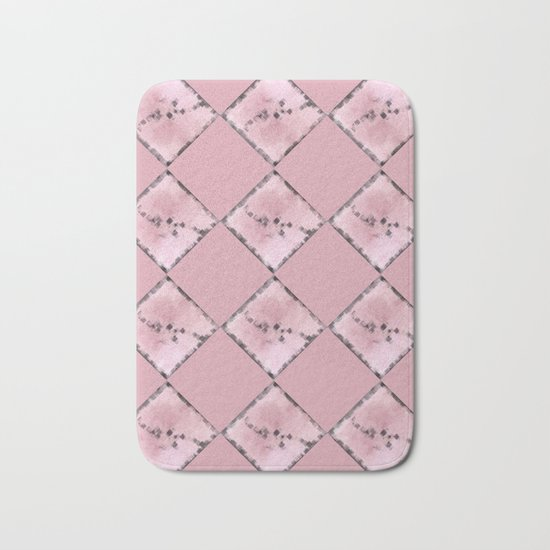 PINK SQUARE PATTERN #1 #decor #art #society6 Bath Mat