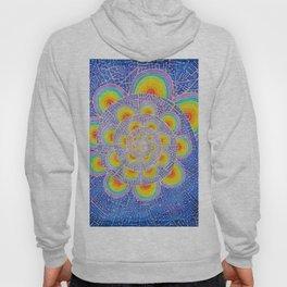 Rainbow Mandala Colorful Psychedelic Trippy Spiral Tapestry Painting Batik (Triametes Versicolor) Hoody
