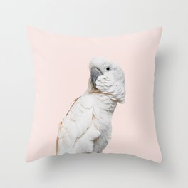 Cockatoo Parrot Photography | Blush Pink | Peach | Happy | Tropical | peek-a-booFun | Paradise Throw Pillow