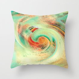 Green orange yellow colors watercolor effect brushstrokes texture illustration Throw Pillow