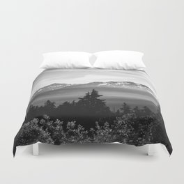 Morning in the Mountains Black and White Duvet Cover