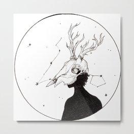 Deer Skull Figure in Space Metal Print