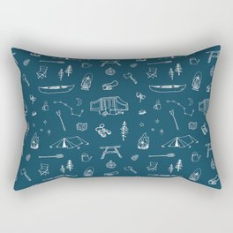 Simple Camping blue Rectangular Pillow