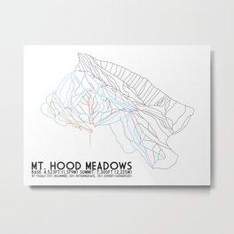 Mt. Hood, OR - Minimalist Trail Art Metal Print