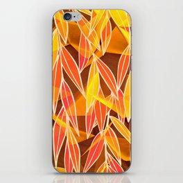 Bright Golden Orange Leaves Floral Print iPhone Skin