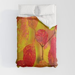 Red autumn leaves #decor #society6 #buyart Comforters