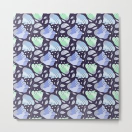 Modern abstract mint pastel purple floral illustration Metal Print