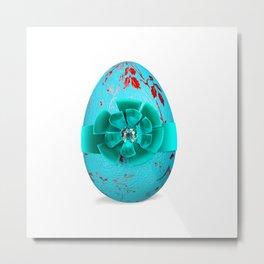 Easter Egg - Aqua & Red Metal Print