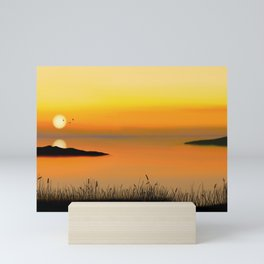Painting of a peaceful seascape at sunset Mini Art Print