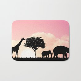 Nature background with elephants and giraffe Bath Mat