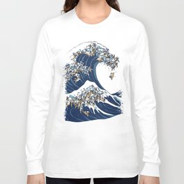 The Great Wave of Pugs Vanilla Sky Long Sleeve T-shirt