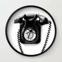 telephone Wall Clocks featuring Telephone by Plasmodi