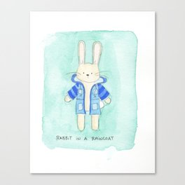 Rabbit in a Rain Coat Canvas Print
