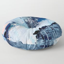 Vibes: an abstract mixed media piece in blues and pinks by Alyssa Hamilton Art Floor Pillow