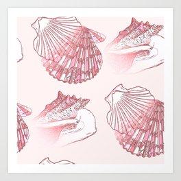 Seashells Coastal Nautical Pattern Pink Art Print