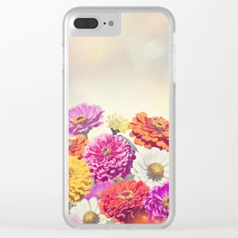 Colorful Blossom of Zinnia flowers Clear iPhone Case